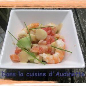 Salade pamplemousse crevette et sa vinaigrette d'agrumes