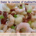 Salade de choux-fleur aux crevettes roses
