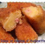 Croquettes de purée au jambon et oignons