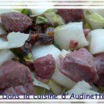 Salade d'endives aux gésiers, tomates confites et pistaches