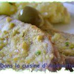 Rôti de veau au thym et olives, gratiné au beurre de pistache