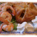 Feuilleté poireaux, queue de langoustines et chantilly au curry