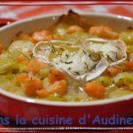 Gratin de fondue de poireaux, dés de saumon fumé et chèvre