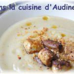 Velouté de topinambours aux dés de foie gras poêlés