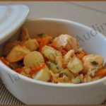 Cassolettes de saumon et Saint Jacques à la julienne de légumes