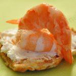 Gaufre Dukan salée, crevettes et fromage frais 0%