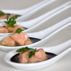 Cuillères apéritives saumon et passion
