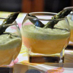 Panna cotta au chorizo et sa crème d'asperge