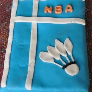 Gâteau au chocolat et sa déco Badminton