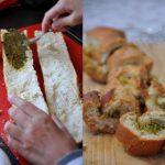Croustillants Baguette-pesto au four