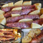 Saucisses de Toulouse et pommes de terre au four