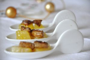 cuillères dés foie gras pomme