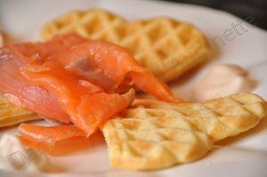 gaufre chevre saumon fumé