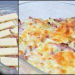 Poireaux et lardons gratinés au cheddar