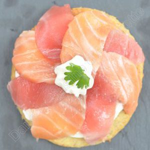 Sashimis de thon et saumon façon tartelette