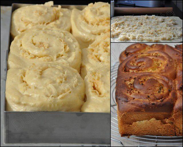 Brioche au lait d'amande, pommes râpées et citron
