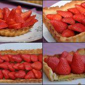 Tarte aux fraises sur compotée de rhubarbe - Dans la cuisine d'Audinette
