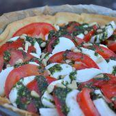 Tarte tomate mozarella au pesto de roquette - Dans la cuisine d'Audinette