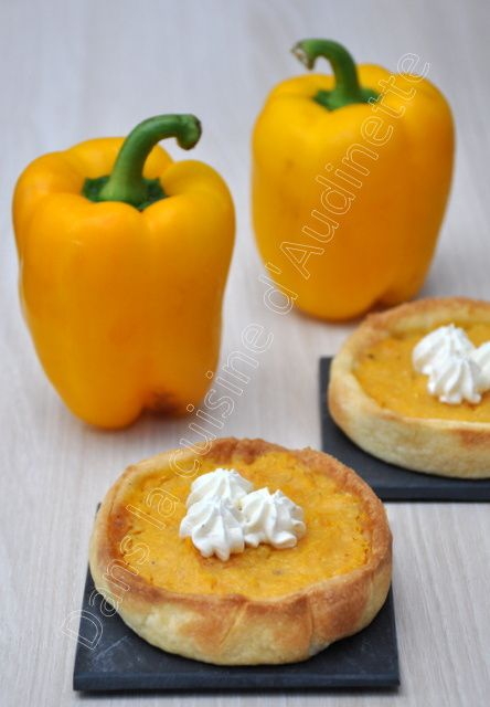 Tartelette poivrons et tomates jaunes, comme une tarte au citron