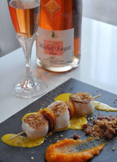 Saint Jacques au crumble de chorizo et crème de pomelo rose au safran pour le concours des Champagnes de Vignerons