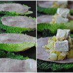 Papillotes de chou vert au poireau, jambon et camembert