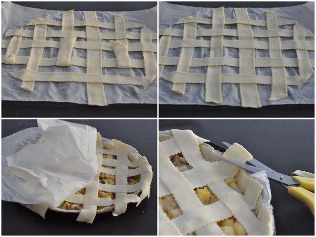 Tourte feuilletée pommes bananes en croisillons