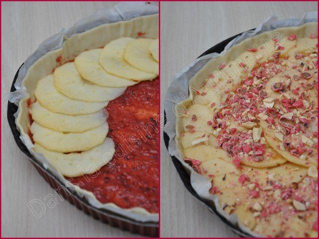 Tarte aux pommes aux pralines roses
