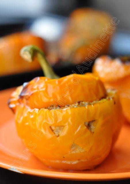 Poivrons farcis façon citrouille d'Halloween