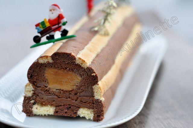 Bûche biscuit cuillère, mousse chocolat noir et insert caramel