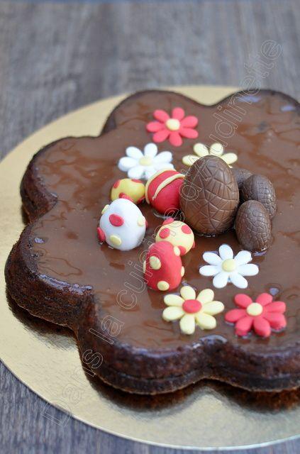 gâteau chocolat décoré pour pâques