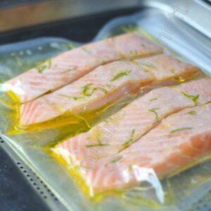 Saumon confit, cuisson sous vide au four vapeur