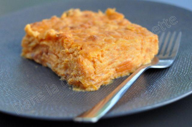Parmentier de patate douce au bacon et cheddar