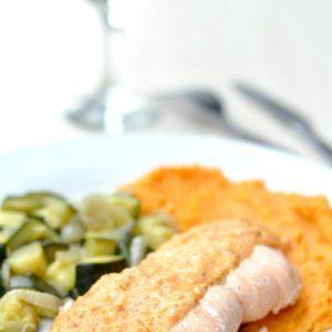Saumon, purée de patates douces et sauce aux piquillos (four vapeur)