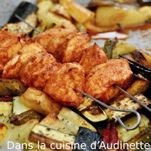 Brochettes de poulet marinées au paprika (cuisson au four combiné vapeur)