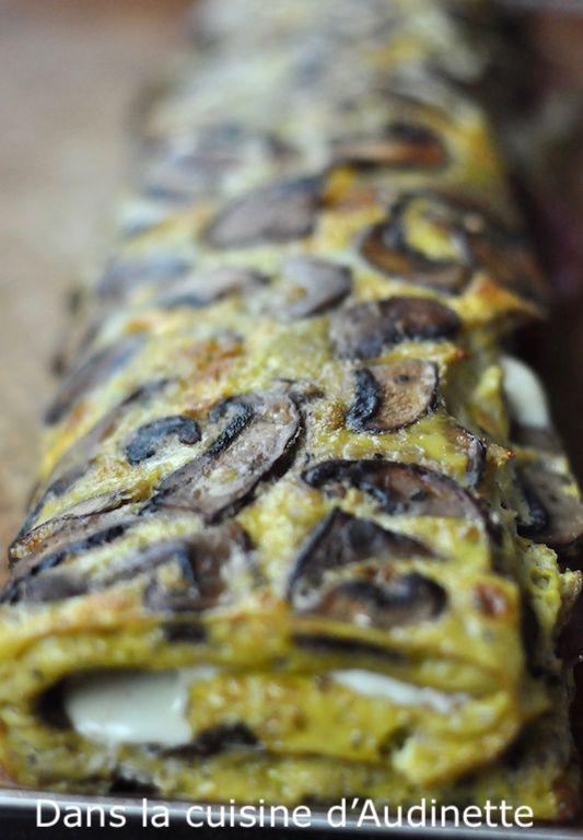 Omelette roulée aux champignons, coppa et cheddar